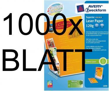 1000 Blatt 120g A4 Avery Zweckform Colour-Laser Papier Superior weiß matt Color