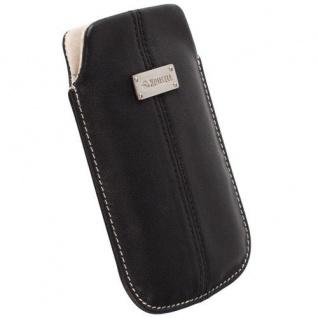 Krusell Luna Mobile Pouch M black Classic Case Leder-Tasche Etui Flap Bag Hülle
