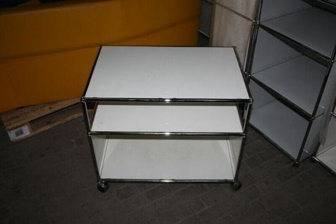 USM Haller Drucker-Wagen Fax Regal Sideboard auf Rollen 2 Fächer weiß Ablage - Vorschau 1