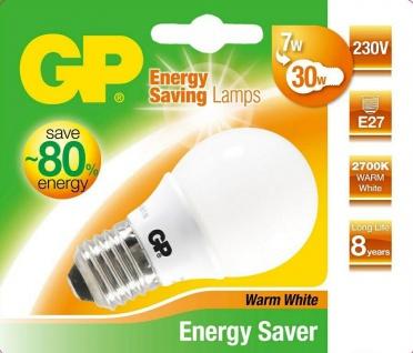 GP Energiespar-Lampe E27 7W / 33W Globe Warmweiß Lampe Glüh-Birne Kugel Ball