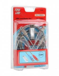Hama USB-Kabel Leucht-Kabel Set 2x 1, 5m USB-Adapter Gaming USB 2.0 A / B Drucker
