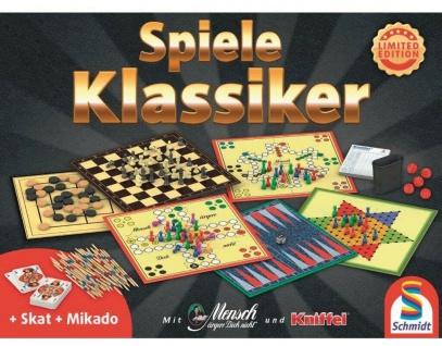 Klassiker Spiele-Sammlung Brettspiel-Set Gesellschafts-Spiele Schach, Mühle etc.