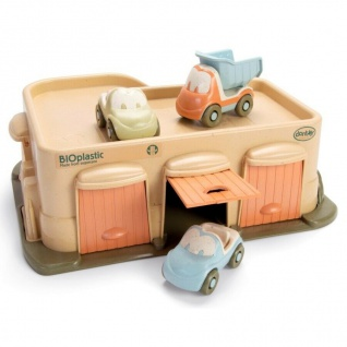Dantoy Bio Parkhaus mit 3 Autos Kinder-Spielzeug Bio-Kunststoff Geschenk 4 tlg.