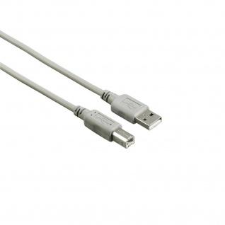 Hama USB 2.0 Kabel 1, 3m 480MBit/s Grau für PC Notebook Drucker Scanner