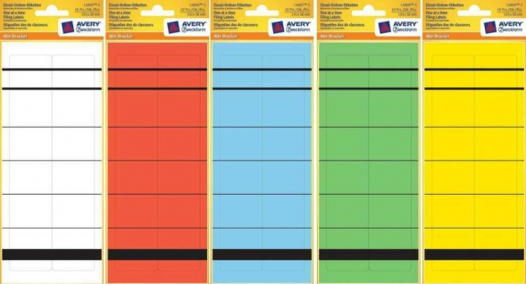 Avery Zweckform Ordner-Rücken A4 Schmal Ordner-Etiketten Schilder Aufkleber Akte