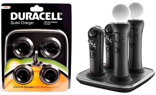 Duracell Quad Docking Ladegerät Netzteil für PS3 PS4 PS VR Move Sub Controller