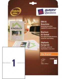 Avery 25x Broschüre A5 Weiß Druck-Papier Werbe-Flyer Blätter Expose A4 Drucker