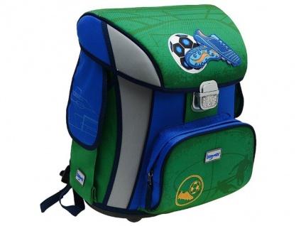 Hama Baggymax Schulranzen Soccer Fußball blau Schul-Tasche Ranzen Jungen Sicher