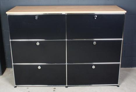 USM Haller Regal Sideboard 6 Fächer mit 6 Klappen schwarz mit Ablageplatte Buche