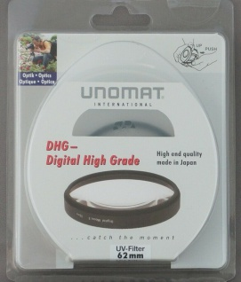 Unomat UV-Filter 62mm UV Filter Speerfilter DHG vergüted für DSLR Objektiv Foto
