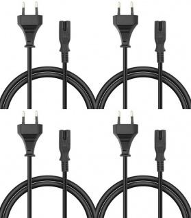 PACK 4x Euro-Stecker Netz-Kabel Strom-Kabel TV Anschluss-Kabel 2-Polig Kupplung