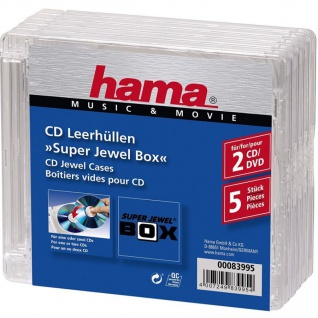 Hama 5x CD-Hüllen 2x CDs CD-ROM Leer-Hülle DVD-Hüllen 5er Pack Super Jewel Box