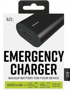 KIT Mobile Power-Bank 6000mAh LED Premium Range Externer Akku USB Not-Ladegerät