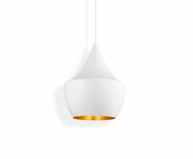 Tom Dixon Beat Fat White Pendant Pendel-Lampe Decken-Leuchte Design Metall weiß