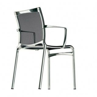 Alias Big-frame Beistell-Stuhl Besucher mit Armlehnen verchromt Netz schwarz