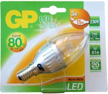 GP LED Kerze klar E14 3W / 15W Warmweiß LED-Lampe Glühbirne Birne Leuchtmittel