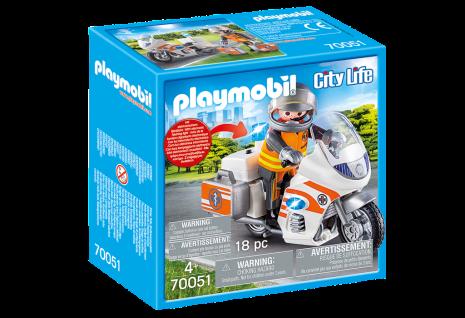 Playmobil City Life 70051 Notarzt-Motorrad mit Blinklicht Rettungsfahrzeug Bike