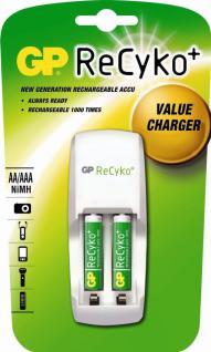 GP ReCyko PACK Ladegerät + 2x AAA-Akku HR6 850mAh Stecker-Ladegerät AA/AAA Lader