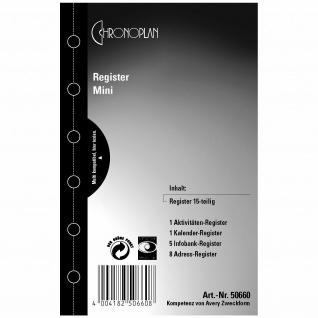 Chronoplan Register Einlage Mini A7 A-Z Adress-Register Kalender-Register etc.