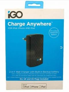 iGo Not-Akku Power Bank 3400mAh + USB Ladegerät 2.1A Netzteil für Tablet PC iPad