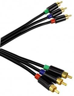 Hama 3m YUV RGB Component-Kabel Gold 3x Cinch-Stecker Komponenten-Kabel HD TV
