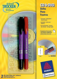 Avery Zweckform 2x CD DVD Stift fein/breit Permanent Marker Stifte Blu-Ray Folie