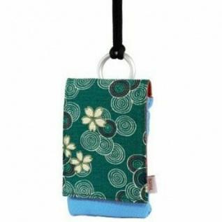 Hama Handy Köchtertasche Handytasche Hülle Blütenrausch Baumwolle Grün Blau
