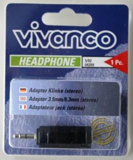 Vivanco Adapter Klinke Stereo 3, 5mm Stecker 6, 3mm Buchse -> Headset Kopfhörer