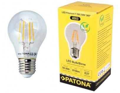 Patona LED Glüh-Birne Filament Klar E27 7, 5W / 80W Leuchtmittel Lampe Warmweiß