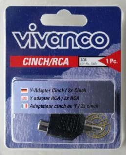 Vivanco Cinch Y-Adapter 1x Cinch-Stecker - 2x Cinch-Kupplung Audio RCA Adapter