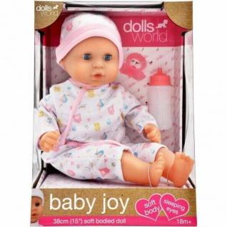 Dollsworld Baby Joy Gold Puppe für Kleinkinder mit Flasche und Schnuller 38 cm