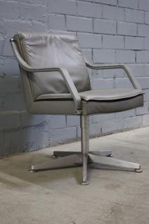 Alpha Art Collection Design Klassiker Besucher-Stuhl Sessel Büro Leder Grau