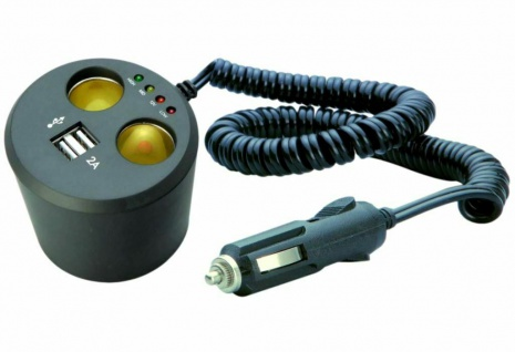 Doppel-Steckdose 12V 24V Zigarettenanzünder 2x USB Verteiler Auto Getränkehalter
