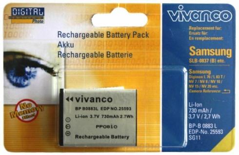Vivanco Akku für Samsung SLB-0837-B Digimax NV10 NV15 NV20 NV7 NV8 i5 i6 etc