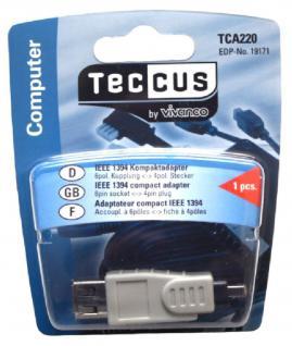 Vivanco Firewire Adapter 6-4 IEEE-1394 6 Pol Buchse Kupplung auf 4 polig Stecker
