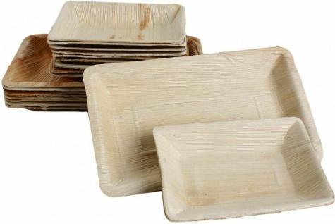 50x Palmblatt Einweg-Teller Party-Schalen rechteckig v. Größen Bio Eco-Geschirr