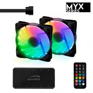 Speedlink MYX LED Fan Kit 2x Gehäuse-Lüfter RGB Beleuchtung Gaming PC Tower Case