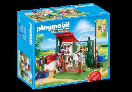 Playmobil 6929 Pferdewaschplatz Country Funktionsfähige Pferde-Dusche Reiterin