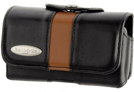 Samsonite Image Handy-Köchertasche Leder Schwarz Etui Schutz-Tasche Gürtelclip