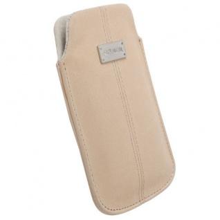 Krusell Luna Mobile Pouch L sand Nubuck Case Leder-Tasche Etui Flap Bag Hülle