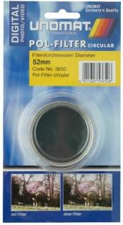 Unamat Polarisations-Filter 52mm Pol-Filter circular Digital f. DSLR Kamera Foto