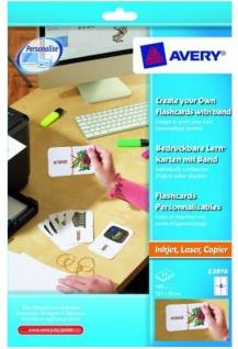 Avery 100 Lern-Karten + Band für A4 Drucker Kartei-Karten Lern-Zettel Uni Schule