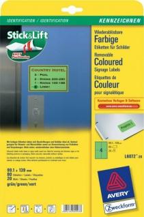Avery Zweckform L6072 80x Etiketten wiederablösbar 99, 1 x 139mm grün Aufkleber
