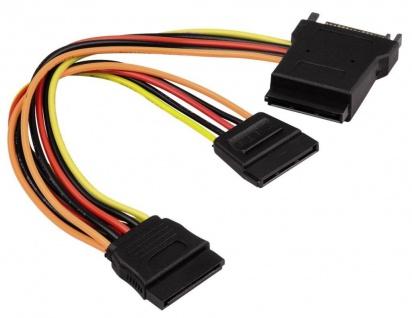 Hama Stromverteilungs-Adapter 3x SATA 15-Pin Y Power Strom-Kabel 2x HDD S-ATA