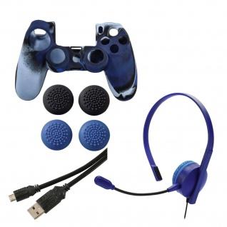 Hama Zubehör-Set Chat-Headset Skin Case Tasche USB-Kabel für Sony PS4 Controller