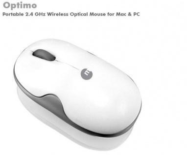 Macally USB Wireless Optimo Maus weiß kabellos Funk Optical Mouse Bamboo optisch