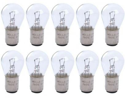 Hella 10x Sockel-Glühlampe 24V BA15d 21W 10er Pack Glüh-Birne Lampe LKW Licht