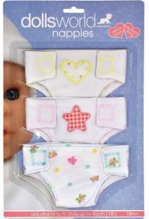 Dolls World Puppen-Windeln 3er Pack Stoff-Windel New Born Baby-Puppen bis 46cm