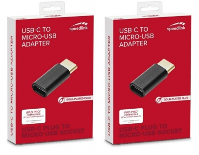 2x Speedlink Adapter micro-USB auf USB-C 3.1 Typ C Mikro-USB Wandler Konverter