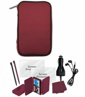 Zubehör-Set Rot Tasche Kfz Ladekabel Kopfhörer Folien Stift für Nintendo DSi XL
